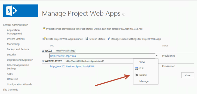 ManageProjectWebApps